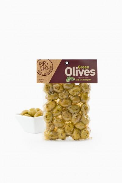 Eva's Walk Chalkidiki-Oliven, grün mit Oregano, 250 g